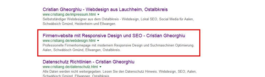 Google SERPs - Meta Description und Title Tag Anzeige
